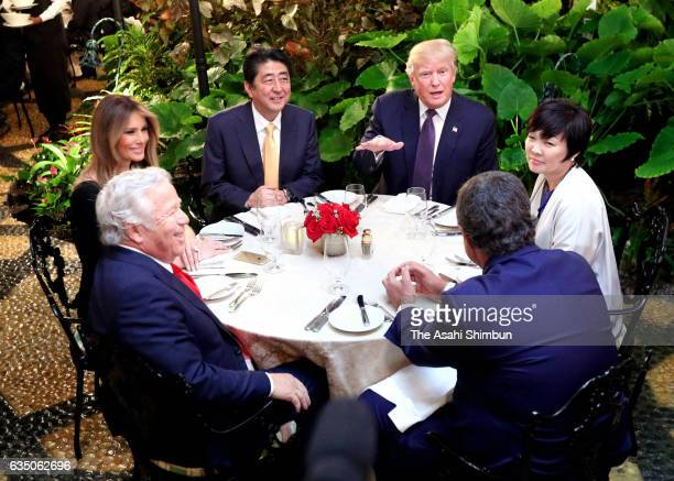Japanese Prime Minister Shinzo Abe his wife Akie US President Donald Trump and his wife Melania attend their dinner at Mar a Lago on February 10 2017...