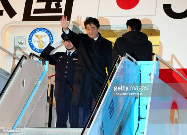 Japanese Prime Minister Shinzo Abe is seen at the Yangyang International Airport on February 10 2018 in Yangyang South Korea
