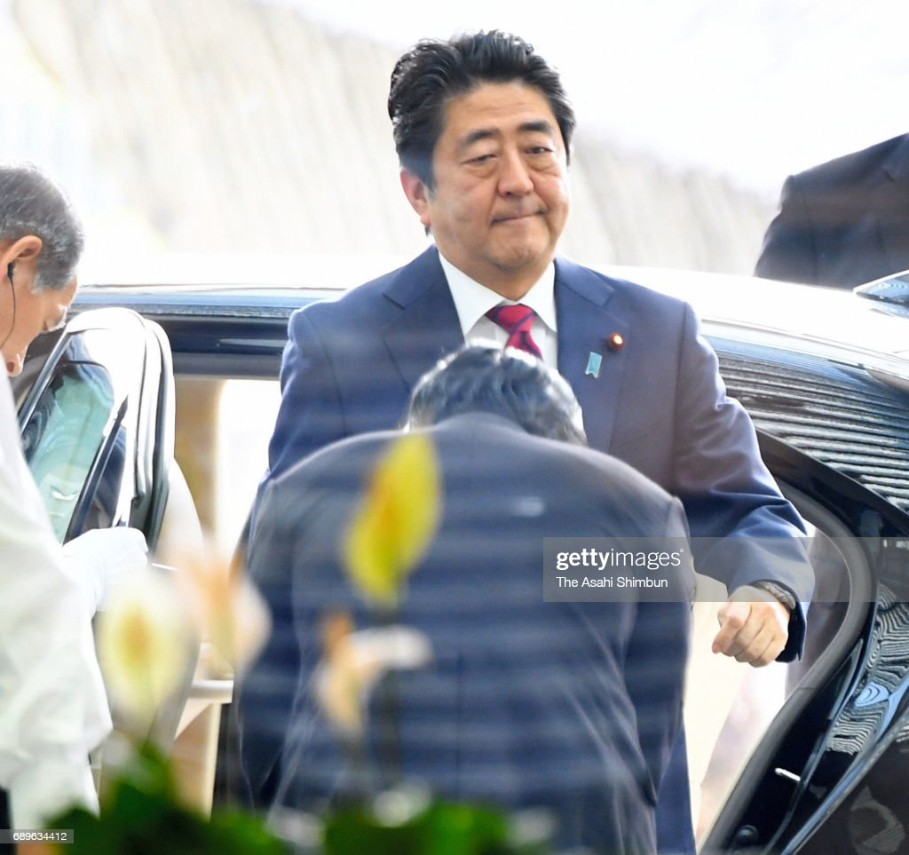 Japanese Prime Minister Shinzo Abe is seen on arrival at his official residence after North Korea's missile launch on May 29, 2017 in Tokyo, Japan.