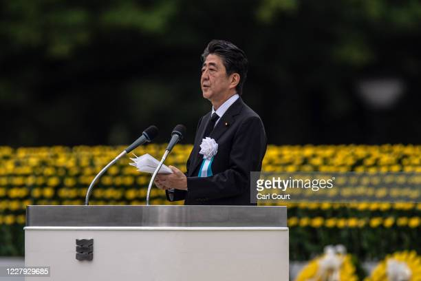 Japanese Prime Minister Shinzo Abe makes a speech during the 75th anniversary of the Hiroshima atomic bombing on August 6 2020 in Hiroshima Japan In...