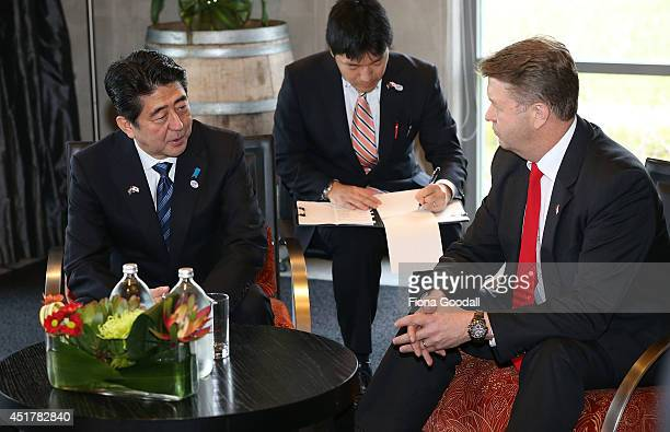 Japanese Prime Minister Shinzo Abe meets with Labour Leader David Cunliffe at Villa Maria Estate Winery on July 7 2014 in Auckland New Zealand Prime...