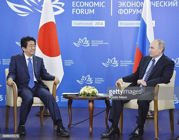 Japanese Prime Minister Shinzo Abe meets with Russian President Vladimir Putin in the Russian Far East port city of Vladivostok on Sept 2 2016 The...