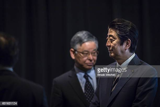 Japanese Prime Minister Shinzo Abe pictured after delivering the keynote speech at the Japan National Tourism Organisation Seminar at the Hilton...