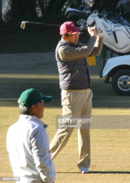 Japanese Prime Minister Shinzo Abe plays his first round of golf of the year in Chigasaki Kanagawa Prefecture on Jan 2 2018 ==Kyodo