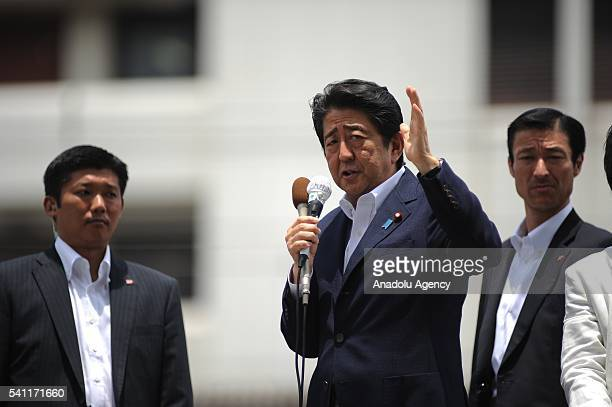 Japanese Prime Minister Shinzo Abe, president of the ruling Liberal Democratic Party, addresses his supporters during the July 10 Upper House...