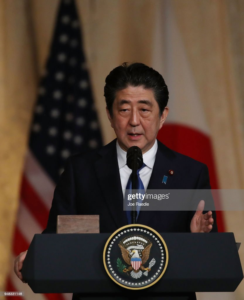 Japanese Prime Minister Shinzo Abe speaks at a joint news conference with U.S. President Donald Trump at Mar-a-Lago resort on April 18, 2018 in West Palm Beach, Florida. The two leaders are meeting for a multi-day working meeting where they are discussing world events.
