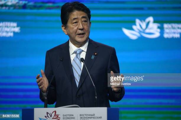 Japanese Prime Minister Shinzo Abe speaks at the plenary session of the Eastern Economic Forum on September 7 2017 in Vladivostok Russia Leaders of...