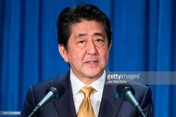 Japanese Prime Minister Shinzo Abe speaks during a press conference on the sidelines of the United Nations General Assembly in New York on September...