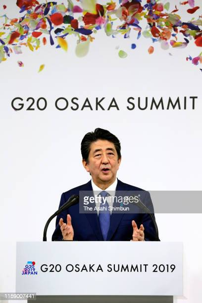Japanese Prime Minister Shinzo Abe speaks during a press conference after the second day of the G20 summit on June 29 2019 in Osaka Japan World...