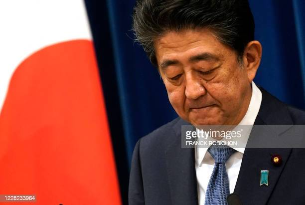 Japanese Prime Minister Shinzo Abe speaks during a press conference at the prime minister official residence in Tokyo on August 28, 2020. - Japan's...