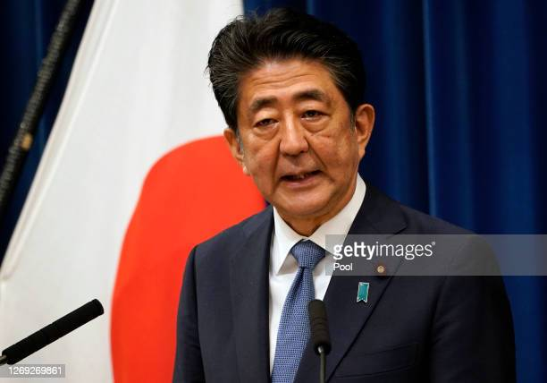 Japanese Prime Minister Shinzo Abe speaks during a press conference at the prime minister official residence on August 28 2020 in Tokyo Japan Prime...