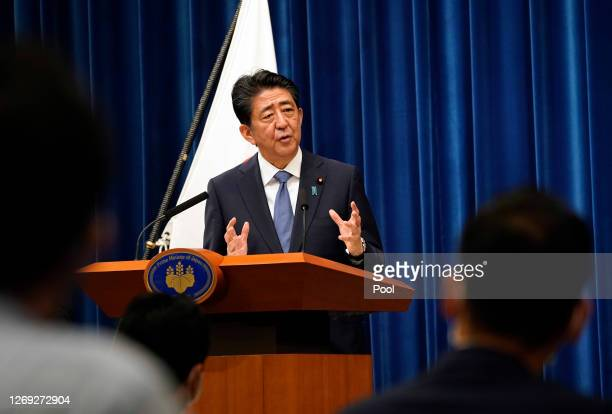 Japanese Prime Minister Shinzo Abe speaks during a press conference at the prime minister official residence on August 28, 2020 in Tokyo, Japan....