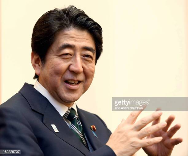 Japanese Prime Minister Shinzo Abe speaks during the Asahi Shimbun Interview at his official residence on February 20 2013 in Tokyo Japan Abe will be...