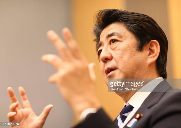 Japanese Prime Minister Shinzo Abe speaks during the Asahi Shimbun Interview at his official residence on June 25 2013 in Tokyo Japan