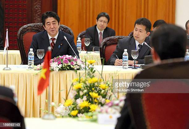 Japanese Prime Minister Shinzo Abe speaks during the bilateral meeting with Vietnamese Prime Minister Nguyen Tan Dung on January 16 2013 in Hanoi...