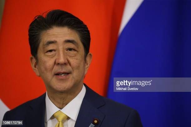 Japanese Prime Minister Shinzo Abe speaks during the press conference with Russian President Vladimir Putin at the Kremlin on January 22 2019 in...