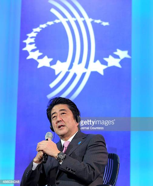 Japanese Prime Minister Shinzo Abe speaks onstage during the fourth day of the Clinton Global Initiative's 10th Annual Meeting at the Sheraton New...