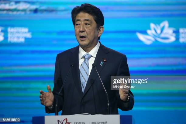 Japanese Prime Minister Shinzo Abe speeches at the plenary session of the Eastern Economic Forum on September 7 2017 in Vladivostok Russia Leaders of...