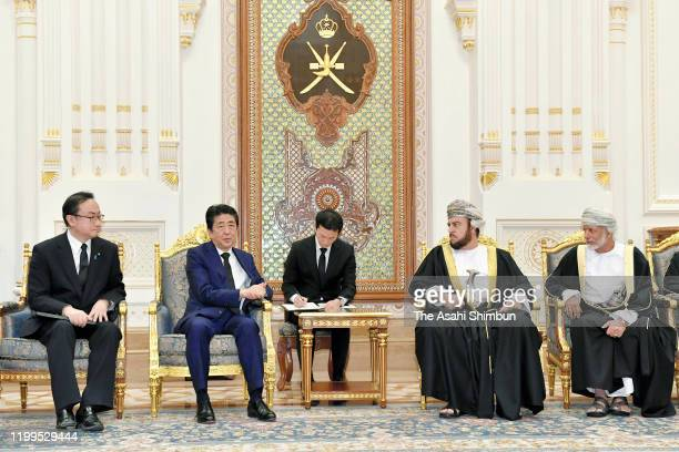 Japanese Prime Minister Shinzo Abe talks with Sayyid Asaad bin Tariq bin Taimur Al Said special representative for Sultan of Oman on January 14 2020...
