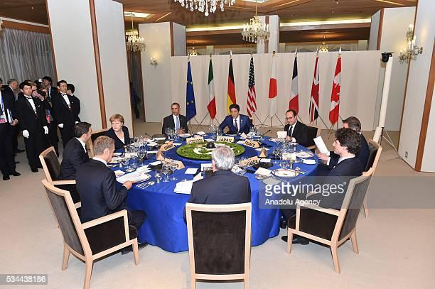 Japanese Prime Minister Shinzo Abe US President Barack Obama German Chancellor Angela Merkel Italian Prime Minister Matteo Renzi European Council...