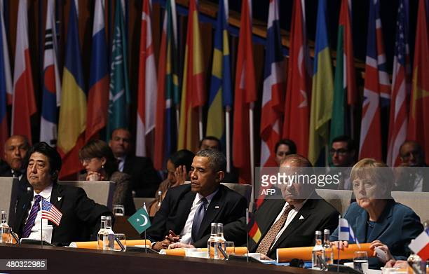 Japanese Prime Minister Shinzo Abe US President Barack Obama Pakistan's Prime Minister Nawaz Sharif and German Chancellor Angela Merkel attend the...