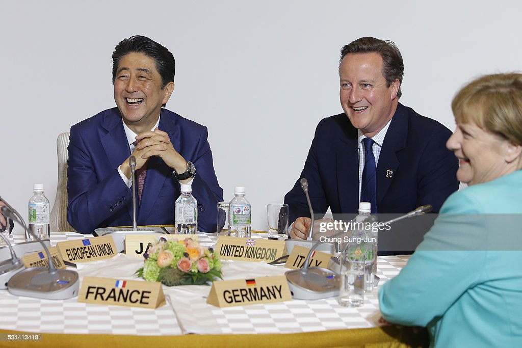 Japanese Prime Minister Shizo Abe, British Prime Minister David Cameron and German Chancellor Angela Merkel attend the Japan EU EPA/FTA meeting on May 26, 2016 in Kashikojima, Japan. In the two-day summit, the G7 leaders are scheduled to discuss the pressing global issues including counter-terrorism, energy policy, and sustainable development.