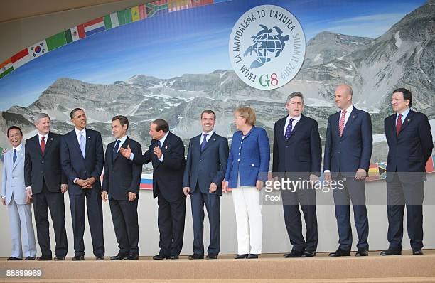 Japanese Prime Minister Taro Aso, Canadian Prime Minister Stephen Harper, US President Barack Obama, French President Nicolas Sarkozy, Italian Prime...