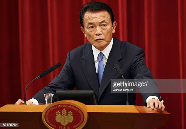 Japanese Prime Minister Taro Aso speaks during a press conference at his official residence on July 21 2009 in Tokyo Japan Aso has dissolved the...
