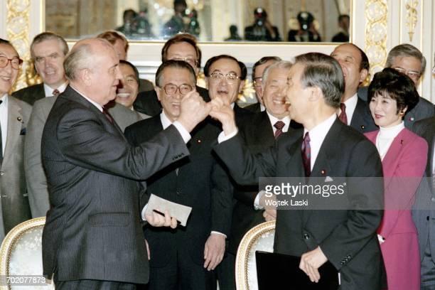 Japanese Prime Minister Toshiki Kaifu and President of the Soviet Union Mikhail Gorbachev during Gorbachev's visit to Tokyo Japan on 17th April 1991