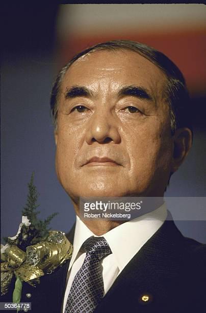 Japanese Prime Minister Yasuhiro Nakasone making a speech while visiting Thailand.