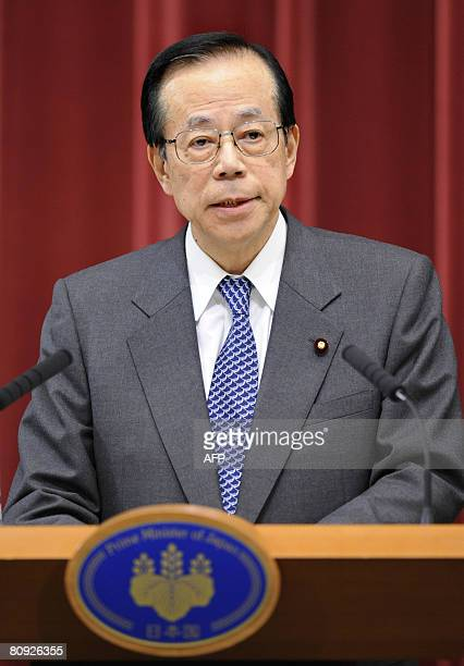 Japanese Prime Minister Yasuo Fukuda delivers a speech during a press conference at the prime minister's official residence in Tokyo on April 30 2008...