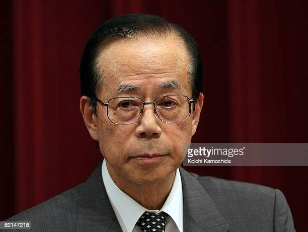 Japanese Prime Minister Yasuo Fukuda speaks during a press conference at the Prime Minister's official residence on August 1 2008 in Tokyo Japan...