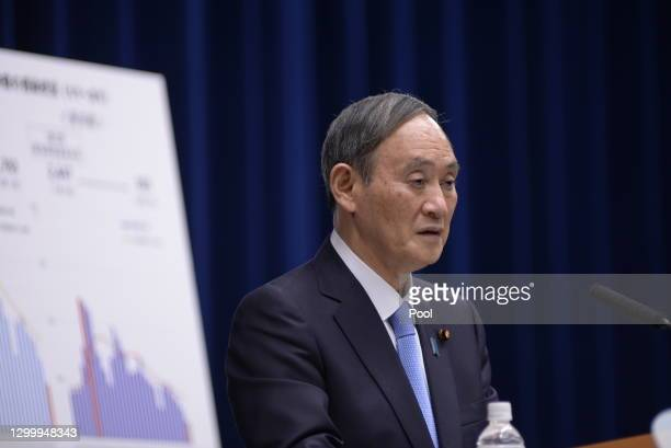 Japanese Prime Minister Yoshihide Suga speaks during a news conference on February 02, 2021 in Tokyo, Japan. Prime Minister Suga held the news...