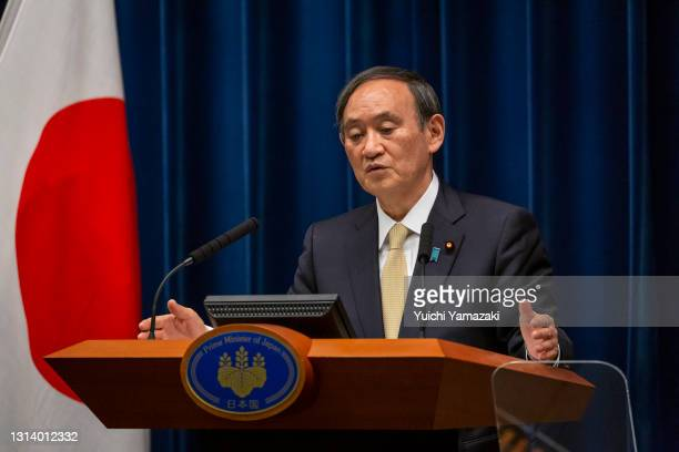 Japanese Prime Minister Yoshihide Suga speaks during a press conference on April 23, 2021 in Tokyo, Japan. Japanese Prime Minister Yoshihide Suga has...