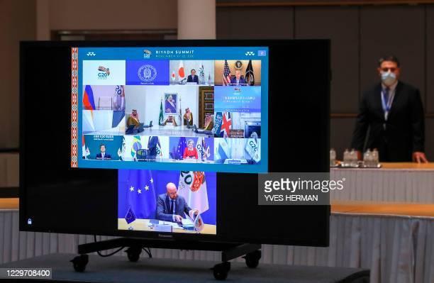 Japanese Prime Minister Yoshihide Suga , US President Donald Trump , Saudi Arabia's King Salman bin Abdulaziz Al Saud , South Korean President Moon...