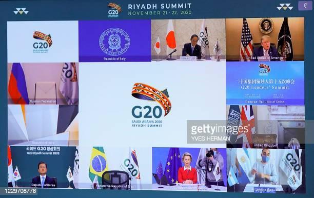 Japanese Prime Minister Yoshihide Suga , US President Donald Trump , South Korean President Moon Jae-in , and European Commission President Ursula...