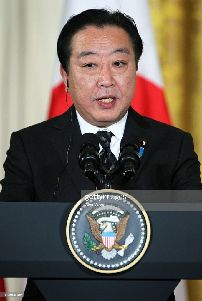 Japanese Prime Minister Yoshihiko Noda speaks during a press conference with U.S. President Barack Obama at the East Room of the White House April 30, 2012 in Washington, DC. Obama met with Noda to discuss a wide range of bilateral, regional and global issues, according to a White House news release.