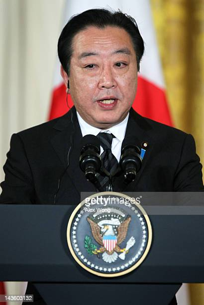 Japanese Prime Minister Yoshihiko Noda speaks during a press conference with US President Barack Obama at the East Room of the White House April 30...