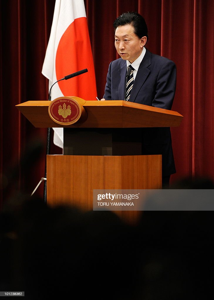 Japanese Prime Minister Yukio Hatoyama answers questions during a press conference at his official residence in Tokyo on May 28, 2010. Japan and the United States agreed Friday to keep a US airbase on the southern island of Okinawa, resolving a row that has badly strained ties between the allies but splintering the ruling coalition. AFP PHOTO/Toru YAMANAKA