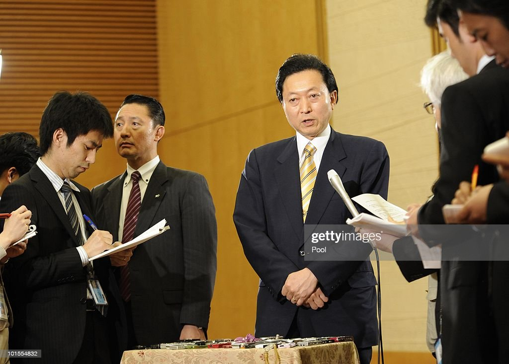 Japanese Prime Minister Yukio Hatoyama speaks with reporters, at his office on June 2, 2010 in Tokyo. Hatoyama announced he is to step down as Japan's Prime Minister, just nine months after his election win.