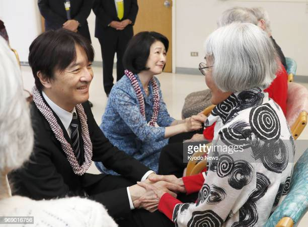 Japanese Prince Akishino and his wife Princess Kiko meet with JapaneseAmericans at a retirement home in Honolulu on June 6 2018 ==Kyodo