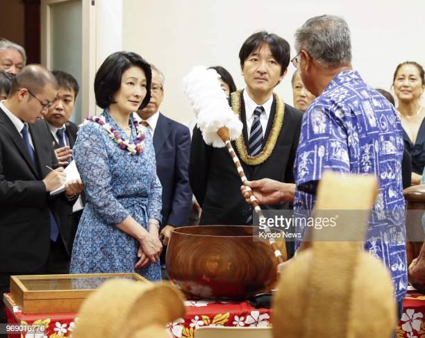 Japanese Prince Akishino and his wife Princess Kiko visit Bernice Pauahi Bishop Museum in Honolulu on June 6 2018 ==Kyodo