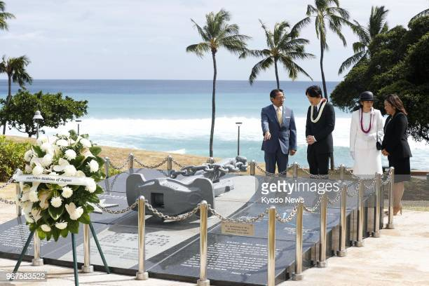 Japanese Prince Akishino and his wife Princess Kiko visit on June 4 a monument in Honolulu dedicated to nine people who died in a 2001 collision off...