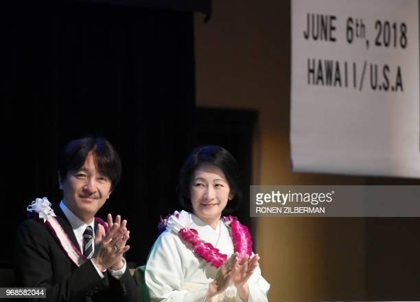 Japanese Prince Akishino and Princess Kiko attend the Nikkei Japanese Abroad reception in Honolulu Hawaii June 6 2018 The prince and princess of...