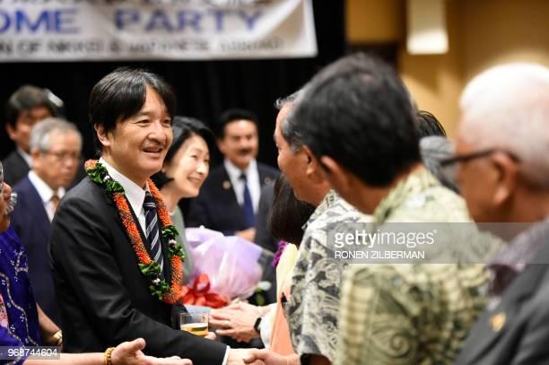 Japanese Prince Akishino and Princess Kiko greet members of the community during the Nikkei Japanese Abroad reception in Honolulu Hawaii on June 6...