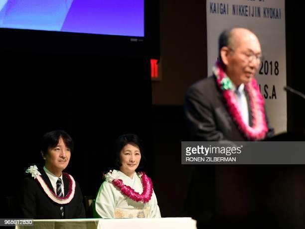 Japanese Prince Akishino and Princess Kiko listen as Nikkei Japanese Abroad president Katsuyuki Tanaka speaks during the Nikkei Japanese Abroad...