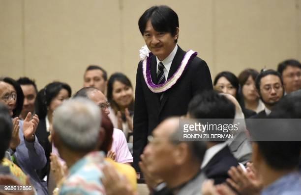 Japanese Prince Akishino attends the Nikkei Japanese Abroad reception in Honolulu Hawaii June 6 2018 The prince and princess of Japan are in Hawaii...