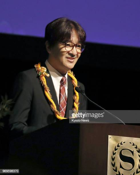 Japanese Prince Akishino delivers a speech in Honolulu on June 7 at a ceremony to commemorate the 150th anniversary of Japanese immigration to Hawaii...