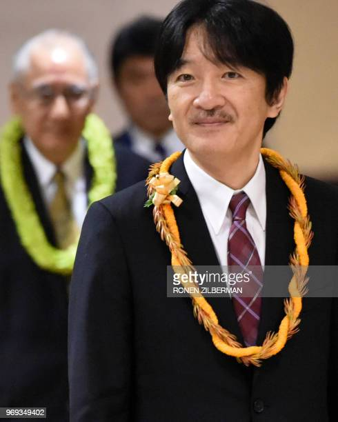 Japanese Prince Akishino looks on at the opening of the 150th anniversary of the Gannemono Symposium in Honolulu Hawaii June 6 2018 The prince and...