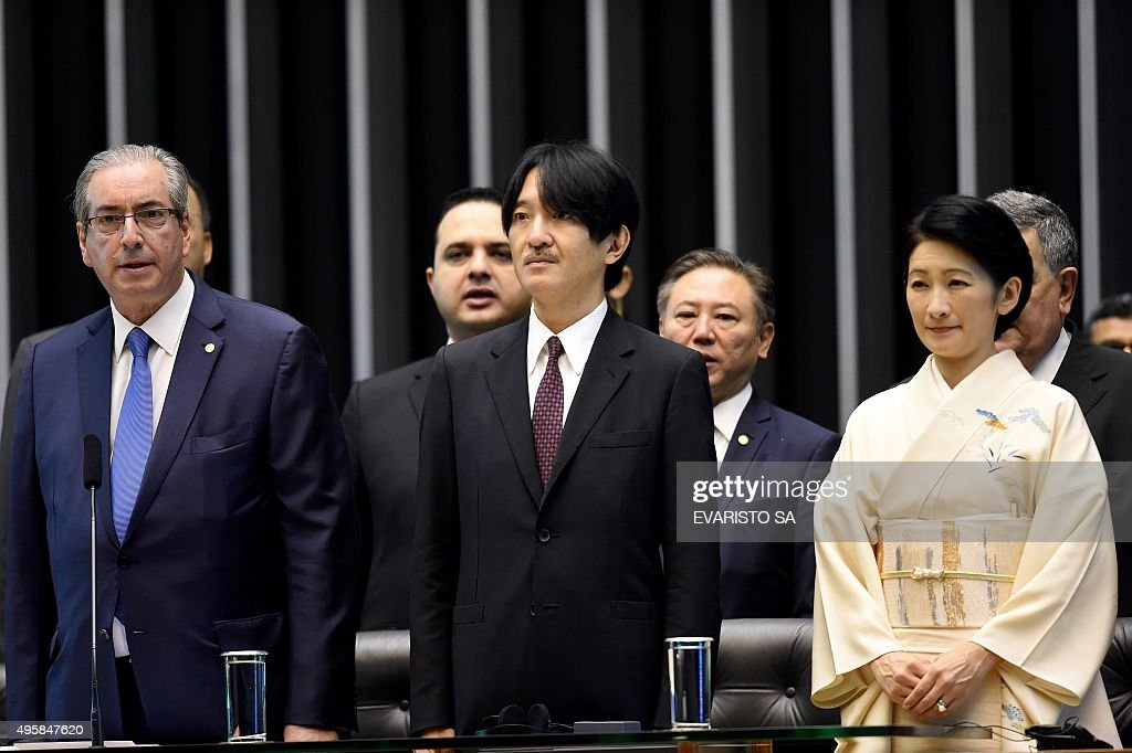 BRAZIL-JAPAN-ROYALS-AKISHINO-CUNHA : News Photo